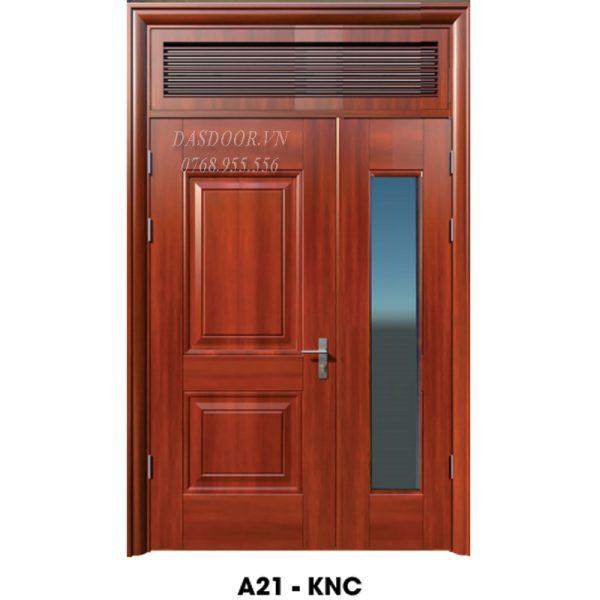 Cửa Thép Vân Gỗ Hai Cánh Lệch - A21-KNC