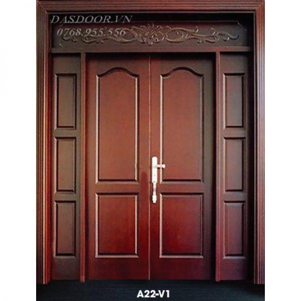 Cửa Thép Vân Gỗ Cửa Đi Hai Cánh Kết Hợp A22-V1