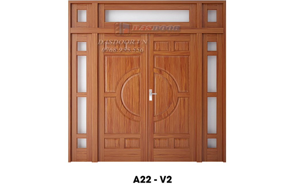 Cửa Thép Vân Gỗ Cửa Đi Hai Cánh Kết Hợp A22-V2