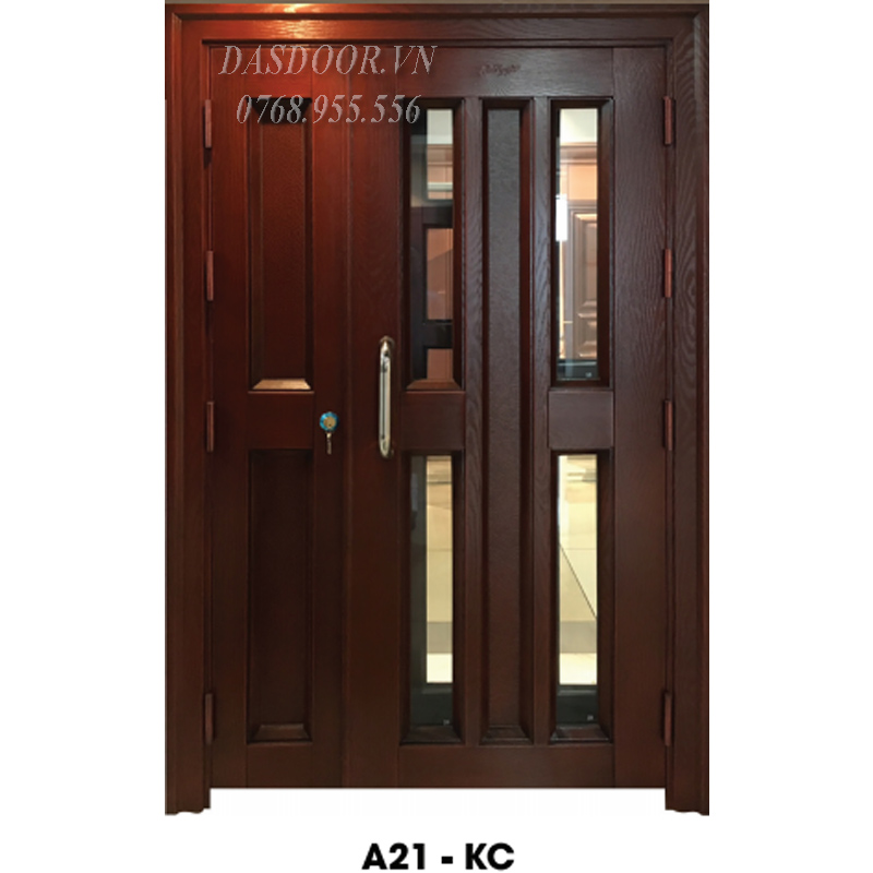 Cửa Thép Vân Gỗ Hai Cánh Lệch - A21-KC